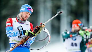 Alexander Loginov in action during the IBU Biathlon World Cup in Pokljuka, Slovenia