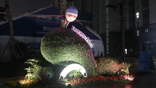 The lit up topiary could be enjoyed 24 hours a day in the athletes' village