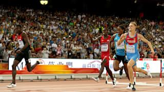 Nicholas Kiplagat Bett of Kenya crosses finish line to win gold at 2015 World Championships