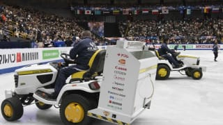 An ice resurfacer in the rink at the World Figure Skating Championships