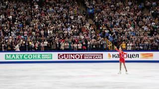 Elizabet Tursynbaeva concludes her free skate at the World Championships