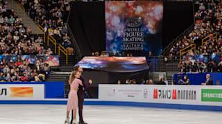 Gabriella Papadakis and Guillaume Cizeron on ice during their free dance in Saitama