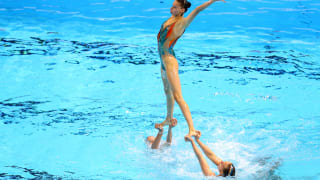 Team Belarus competes in the Team Free preliminary round on day six of the Gwangju 2019 FINA World Championships at Yeomju Gymnasium on July 17, 2019 in Gwangju, South Korea. (Photo by Maddie Meyer/Getty Images)