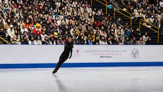 Yuzuru Hanyu at practice on Tuesday evening.
