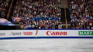 Evgenia Medvedeva jumps during herfree skate at the World Championships