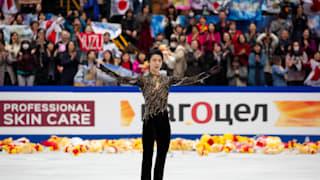 Yuzuru Hanyu thanks the crowd after his World Championship free skate