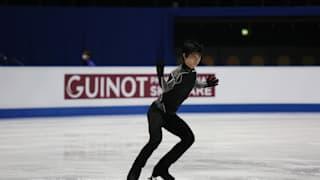 Yuzuru Hanyu practices for his free skate
