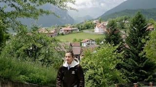 Majlinda Kelmendi walks to training in her hometown Peja