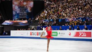 Elizabet Tursynbaeva performs during her free skate at the World Championships