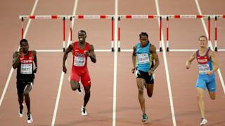 Nicholas Bett of Kenya on his way to gold in 400 metres hurdles at World Athletics Championships Beijing 2015