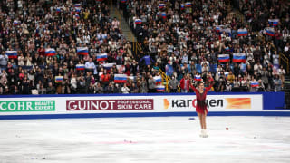 Evgenia Medevedeva skating during the short program in Japan