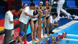 Head coach Inki Hong of South Korea speaks to his team during their Women's Water Polo Preliminary round match against Canada at the Gwangju 2019 FINA World Championships at Nambu University on July 18, 2019 in Gwangju, South Korea. (Photo by Clive Rose/Getty Images)