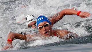 18th FINA World Swimming Championships - Men's 10km Open Water Final - Yeosu EXPO Ocean Park, Yeosu, South Korea - July 16, 2019. Marc-Antoine Olivier of France competes. REUTERS/Evgenia Novozhenina