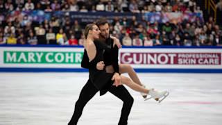 Gabriella Papadakis and Guillaume Cizeron of France perform their rhythm dance in Saitama