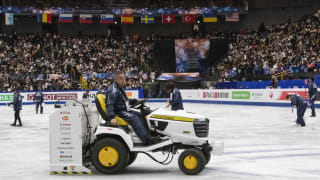 An ice resurfacer does its job at the World Figure Skating Championships