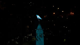 The Flag of Argentina atop the Buenos Aires Obelisk