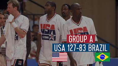"""США - Бразилия (группа А)   """"Дрим-тим"""" в Барселоне-92"""