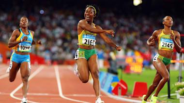 Shelly-Ann Fraser remporte l'or sur 100m à Pékin 2008