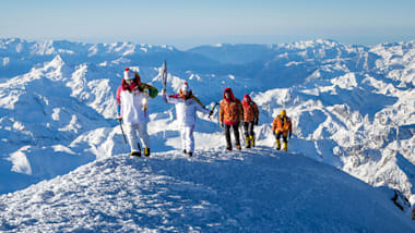 Olympic Flame reaches Europe's highest point