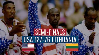 """США - Литва (1/2 финала)   """"Дрим-тим"""" в Барселоне-92"""