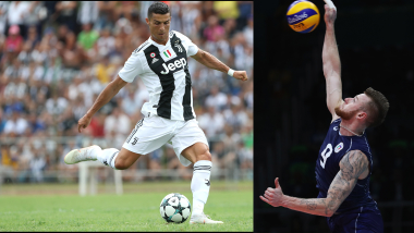 Cristiano Ronaldo challenged by volleyball record holder Zaytsev