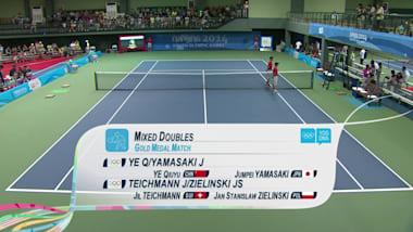 Е Цююй/Ямасаки - Тайхманн/Зелиньски - теннис | ЮОИ-2014 в Нанкине