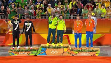 남자 비치발리볼에서 금메달을 따낸 브라질팀