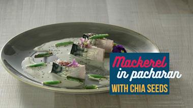 Mackerel in pacharan and chia seeds