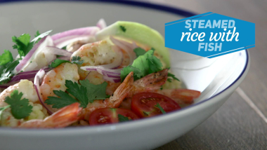 Steamed rice with fish