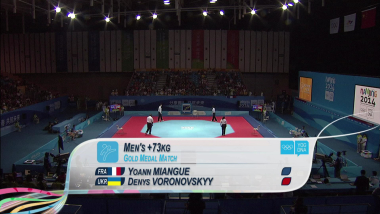 Y. Miangue (FRA) vs D. Voronovskyy (UKR) - Taekwondo   2014 OJS Nanjing