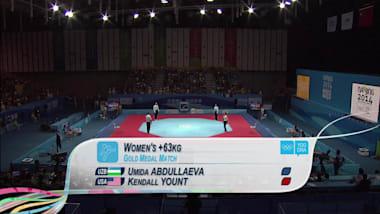 U. Abdullaeva (UZB) vs K. Yount (USA) - Taekwondo   2014 OJS Nanjing