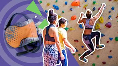 Sportkletterer überrascht Karina und Carmen mit seinem Training