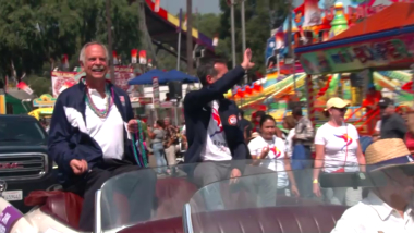 Mayor celebrates LA 2028 win in convertible