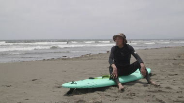 One of the world's oldest active surfers