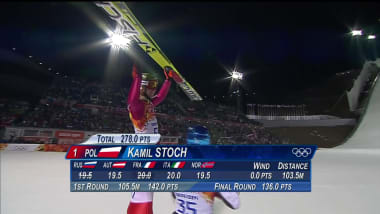 Kamil Stoch in the ski jumping normal hill event in Sochi 2014