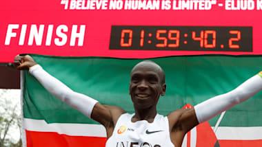 Eliud Kipchoge runs first ever sub-two hour marathon