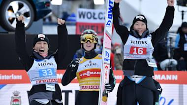 スキージャンプ男子団体第3戦、日本が3位に入り今季初の表彰台、優勝はオーストリア