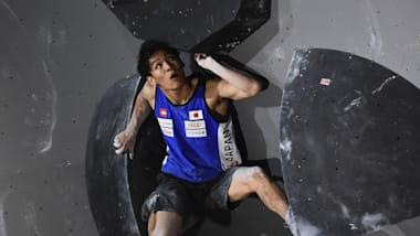 スポーツクライミング世界選手権:男子複合予選・ボルダリングは原田海が3位、楢崎智亜4位