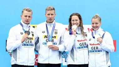 世界水泳・韓国大会7日目:オープンウォータースイミング・5kmチームリレー、日本14位