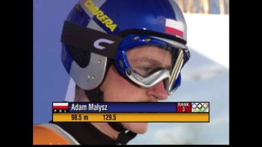 Adam Małysz in the ski jumping normal hill event in Salt Lake City 2002