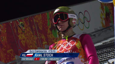 Kamil Stoch in the ski jumping large hill event in Sochi 2014