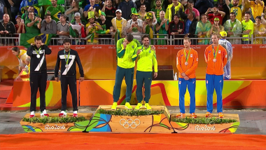 Brazilian pair wins Men's Beach Volleyball gold