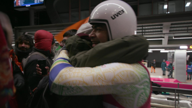 Fans hug Shiva Keshavan after his second run