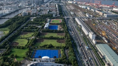 東京五輪のホッケー会場、大井ホッケー競技場で完成披露式典