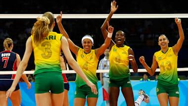 브라질 여자배구, 미국꺾고 올림픽 첫 금 | 베이징 2008 다시보기
