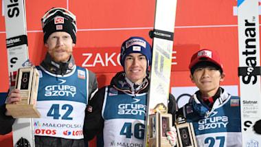 スキージャンプW杯、佐藤幸椰が初のW杯表彰台となる3位に…小林陵侑は7位
