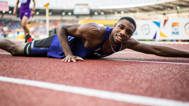 Why does pain feel good for sprint sensation Noah Lyles?