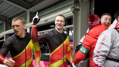 Bobsleigh Olympic champ happy not to be