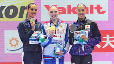 世界水泳・韓国大会2日目:アーティスティックスイミングのソロTRで、乾友紀子が銅メダル