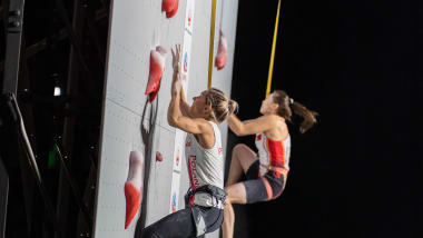 Fossali and Miroslaw claim sport climbing world speed titles